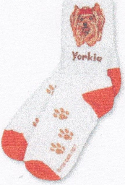 FBF Yorkie Head Sock is a Crew and Anklet Sock. With the Cuff Up you see the Yorkie, with the Cuff down you see the Word Yorkie.