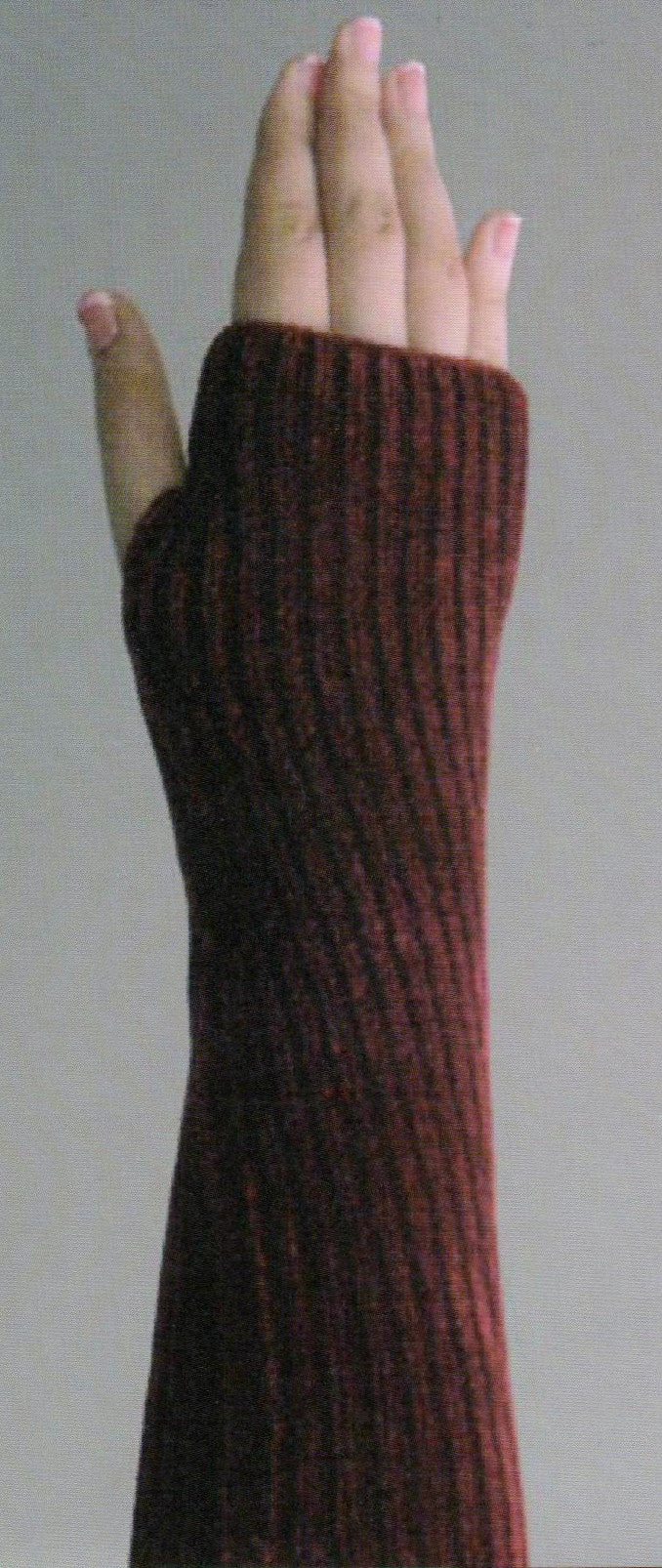 Zazou Chenille Fingerless Glove in Fudge on Model
