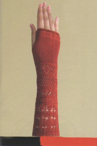 Zazou Crocheted Fingerless Gloves comes in two colors Paprika (shown) and Black.