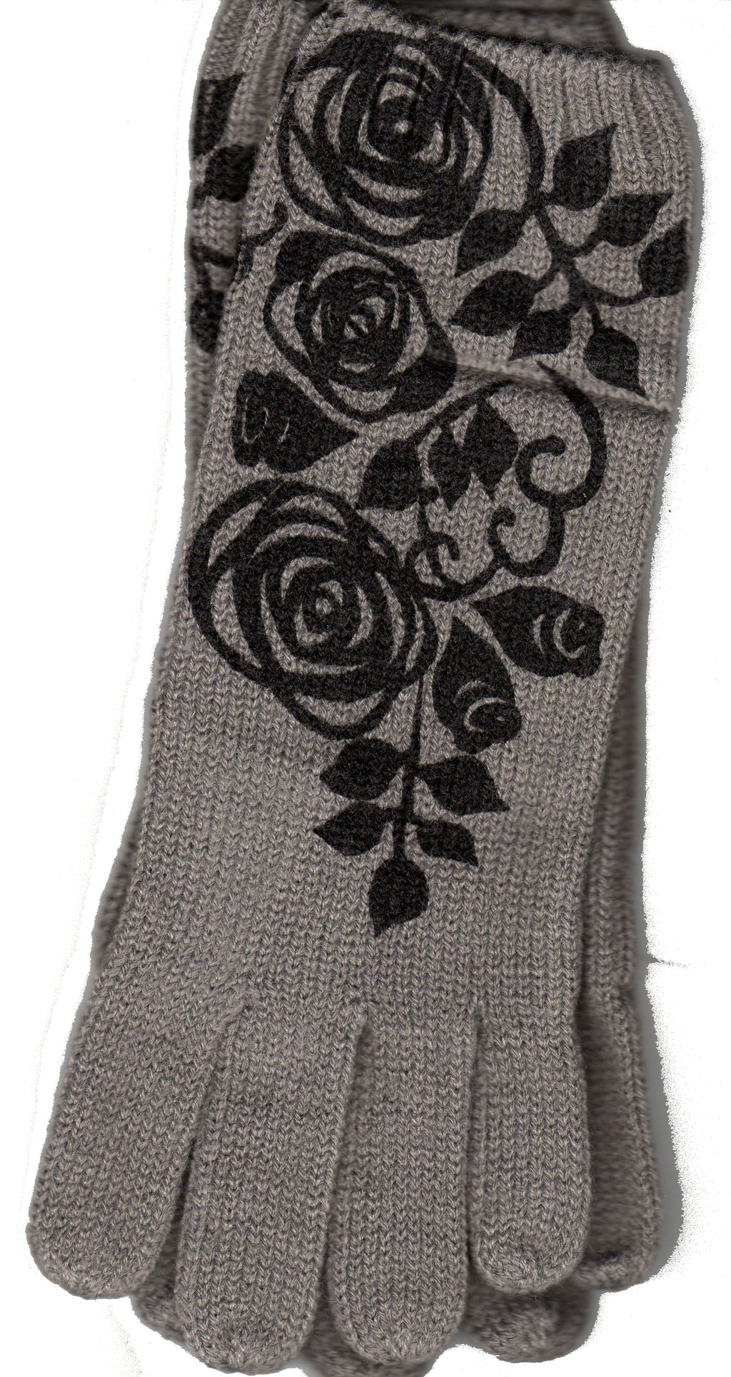 Grey Rosebud Gloves from Zazou has a Black stencil print set of Roses and Rosebuds on the top of the Glove.