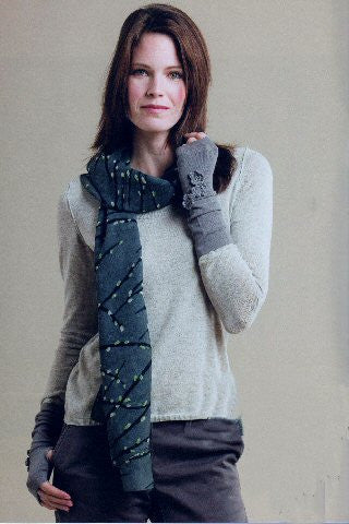 Model wearing Zazou Pussywillow Scarf and Zazou Blossoms Fingerless Gloves