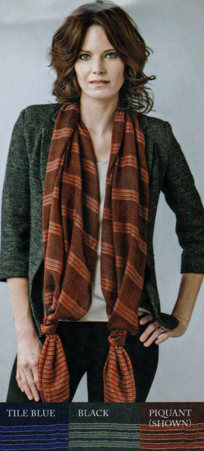 Zazou Moroccan Knotted Stripe Scarf in Piquant (Model is Wearing)