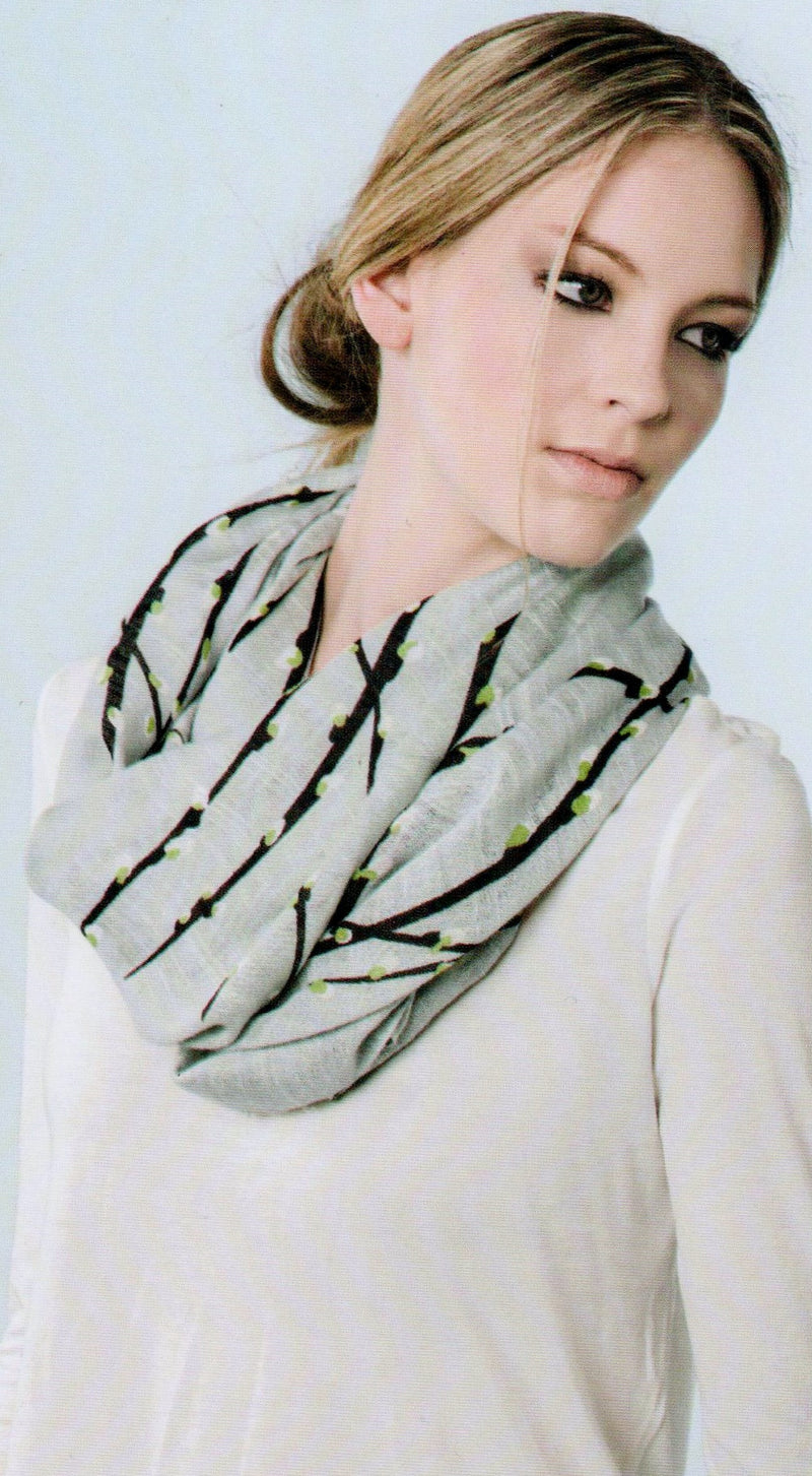 Zazou Pussywillow Scarf on Model showing how to wear a scarf.