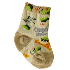 Zebra Baby Socks Khaki are Khaki and Tan with Green, Black and White, Gray, Orange and Red. Also on Sock are Elephants and Giraffes.