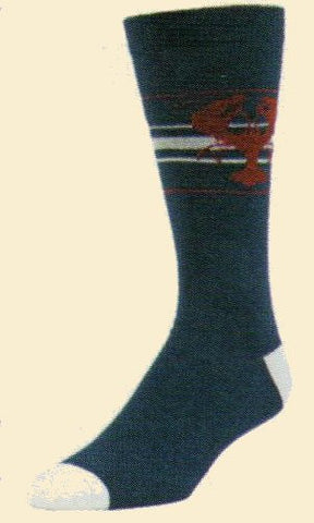 Mens Lobster Sock from b. ella is mostly Navy Blue with Maroon for the Lobster. White line are behind the Lobster and make the Heels and Toes.