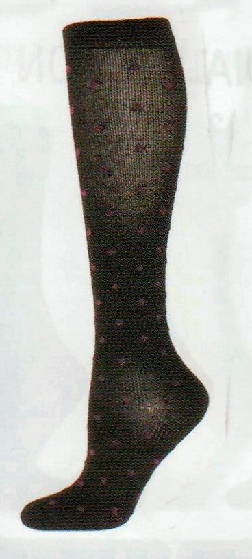 b ella Womens Naples Compression Pin Dot Merino Wool Socks come in Black with Maroon Dots. Nice fpr Dress Travel or Casual Socks to wear.