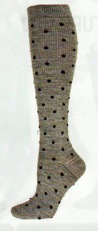 b ella Womens Naples Compression Pin Dot Merino Wool Socks come in Grey with Black Dots. Nice for Dress Travel or Casual Socks to wear.