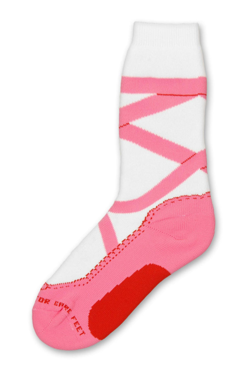 Ballet Slipper Sock from FBF is a Thick Sock. The bottom has the ballet slipper in pink and the bottom middle is Rose. Ribbon Ties are Pink that go up the White Crew.