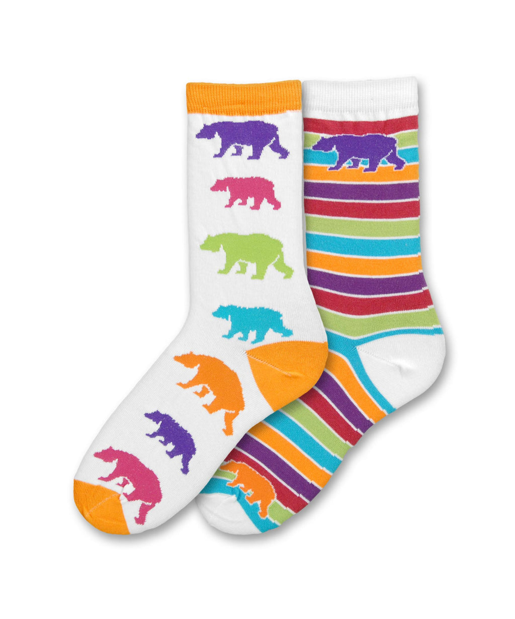FBF Bear Mismatched Sock starts with a White background and Bright Orange Cuff, Heel and Toe with Colorful Bears going down. The next sock has White Cuff, Heel and Toe with a Purple Bear at the top and rows of bright colors going horizontal down the sock.