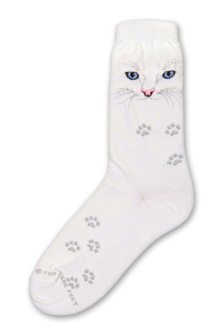 On a Bright White background is the Face of a Cat with Blue Eyes and a Pink Nose with Grey Whiskers. Paws of Grey follow the sock down to the Toes.