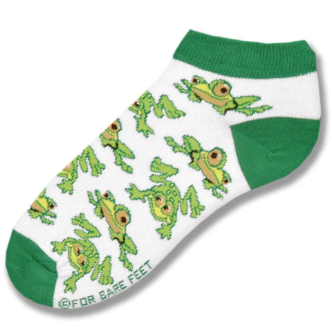 FBF Frogs All Over Socks start on Bright White background with Dark Green Cuffs, Heels and Toes. Then all over the foot are Green and Light Green Frogs.