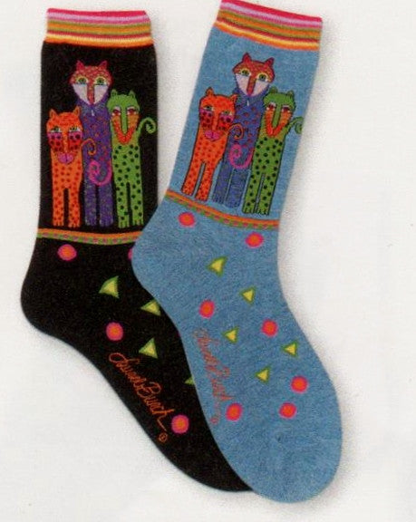 Currently this sock only comes in the Denim Blue background with Brightly Colored Leopards in Polka Dots. One is mostly Bright Orange, then Purple and the last Leopard in Lime Green.