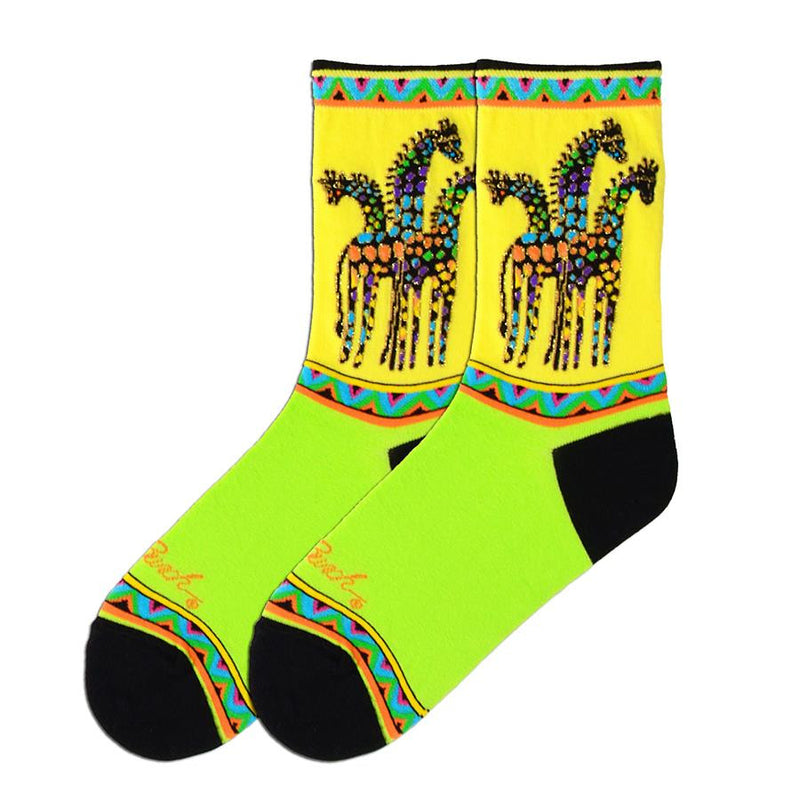 Laurel Burch Rainbow Giraffes are Brightly Colored Socks. The Cuff is like a Bright Bunting of Colors with another below the Giraffes. The Spots on the Giraffes are Blue, Purple,Yellow, Orange and Green. Gold Thread is mixed in. The Heels and Toes are Black and the bottom of the Foot is Lime green