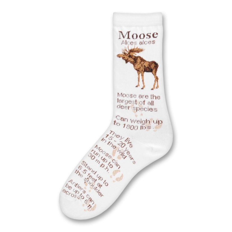 Last One of FBF Moose Facts Socks. On a White background a Moose on Each side at the top and information about the Moose all the way down to the Toes.
