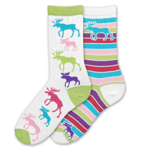 FBF Moose Mismatch Socks are Brightly Colored and Crazy fun to wear. The first sock is Lime Green on the Cuff, Heel and Toe. Has many Moose all over the sock. The second sock Has a Large Light Blue Moose at the Top a Purple Moose at the Bottom. Cuff, Heel and Toe are White and the rest is Rows of Color all the way down the sock