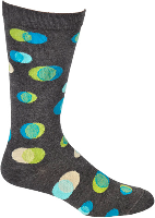 Ozone Waxing and Waning Mens Dress Sock starts on a Charcoal background shows the colors of Dark Blue, Light Blue, Light Green, White and Grey.