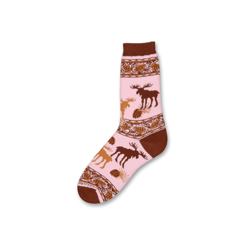 Pink Moose by FBF is on a background of Pink. The Cuffs, Heels and Toes are Chocolate Brown. 3 rows divide the sock with Pine Cones and twigs in Chocolate. In the middle are Moose in Chocolate and Caramel.