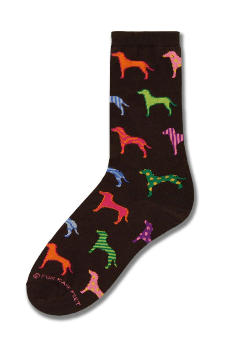 On a Black background Retro Dogs in almost every Color pop off the Black. FBF looks like Peter Max helped design this sock.