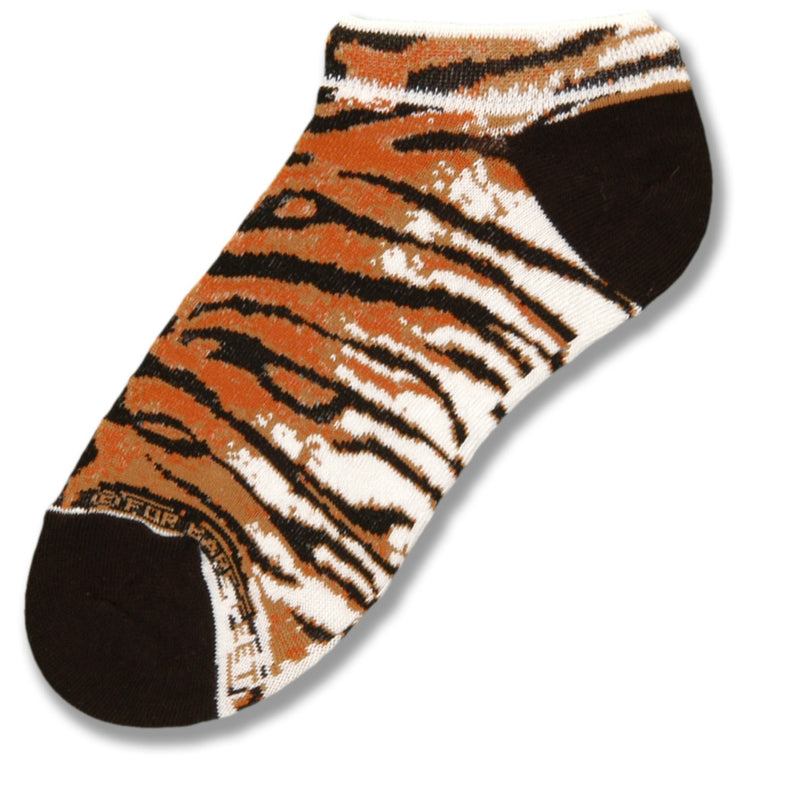 FBF Tiger Stripe Sock is a No Show Style with Black Heels and Toes. The rest of the Sock is cover with Tiger Print Stripes.