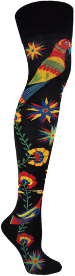 This is the side view of Ozone Love Birds Black Sock is an Over the Knee Sock with a black background there are two striking Love Birds at the top of the sock in bright colors of red, blue yellow and green.  The flowers and stars cascade down to another Love Bird at the Toes.