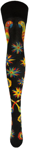 The Front View of Ozone Love Birds Black Sock shows the Love Birds facing each other with Flowers and Stars going down to the Toes in Bright Yellows, Reds, Greens and Blues.
