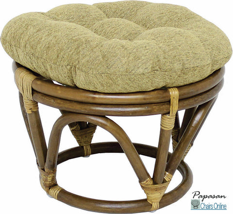 Rattan Footstool with Jacquard Chenille Cushion