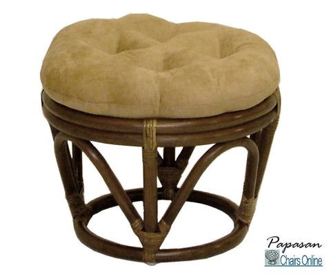 Rattan Footstool with Micro Suede Cushion