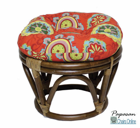 Rattan Footstool with Outdoor Fabric Cushion