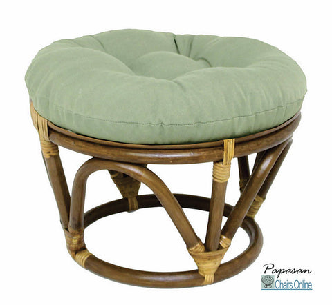 Rattan Footstool with Solid Cotton Duck Fabric Cushion
