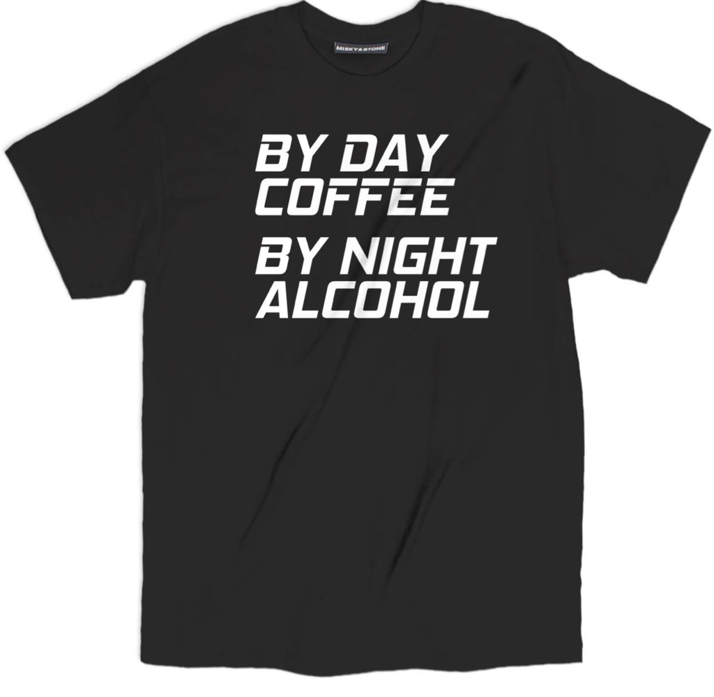 coffee by day t shirt, alcohol by night shirts, coffee day alcohol night tee shirts, funny coffee shirts, cute coffee shirts, coffee tee shirt, coffee apparel, coffee merch, coffee clothing, funny coffee tee shirt, coffee lover tee shirt,