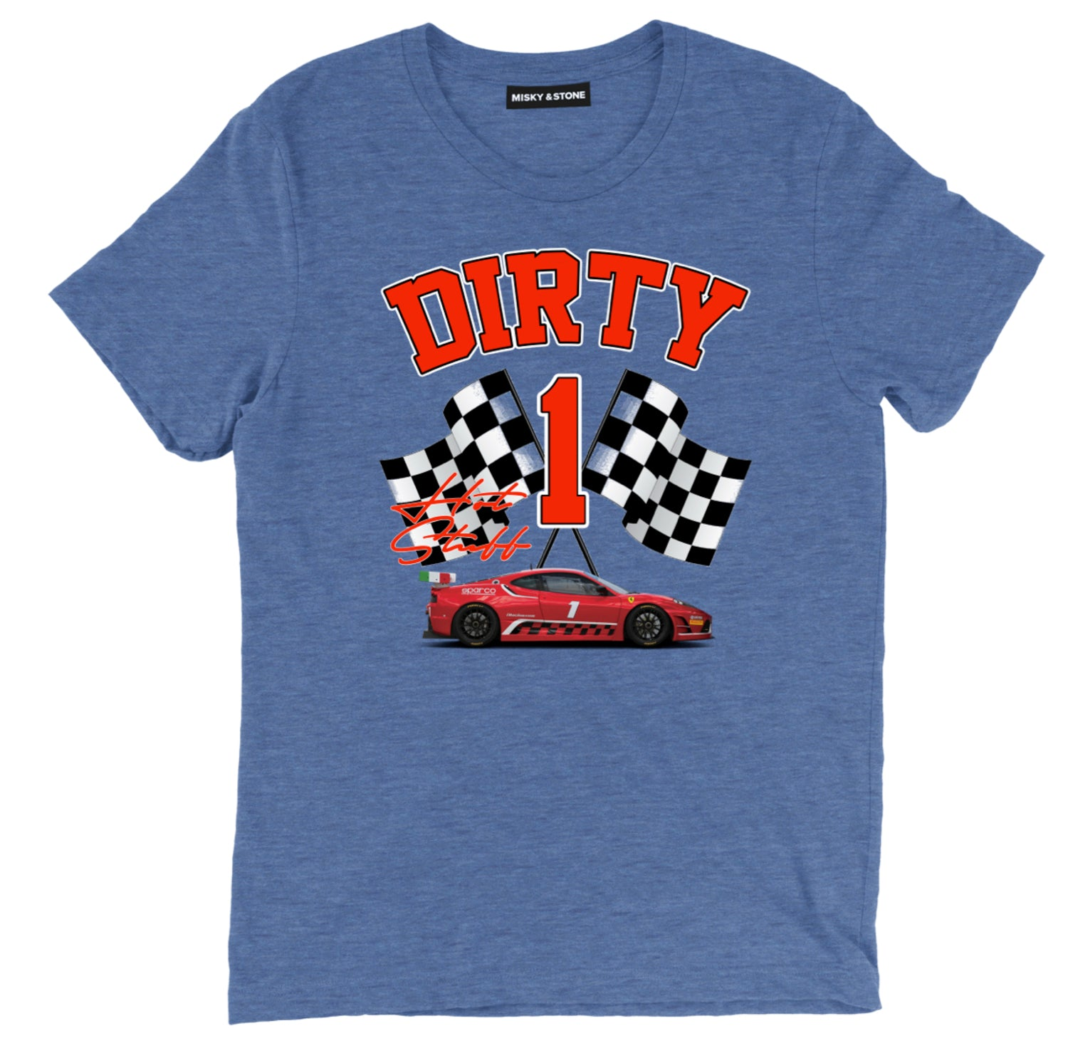 Dirty One Hot Stuff Red Car Racing Flag T Shirt