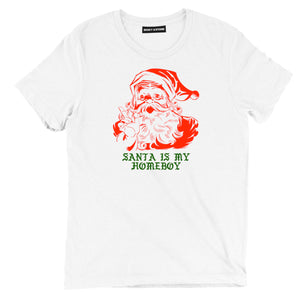 santa is my homeboy christmas tee shirt, santa is my homeboy christmas apparel, christmas merch, christmas clothing, funny santa is my homeboy christmas tee shirt, ugly christmas tee shirt