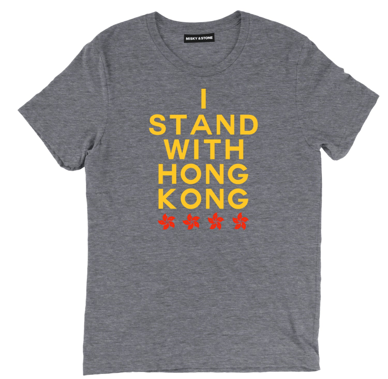I Stand With Hong Kong Red And Gold Tee Shirt