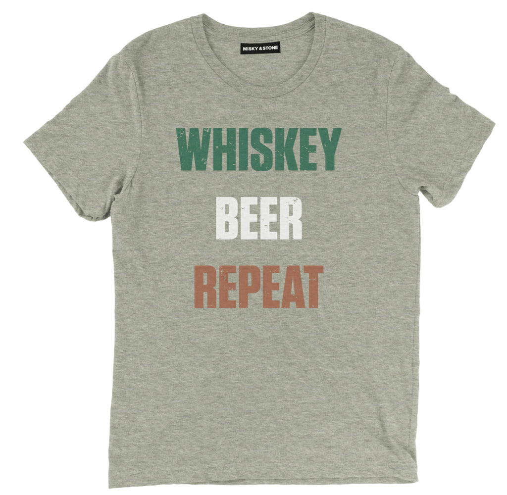 whiskey beer repeat tee shirt, whiskey tee shirt, whiskey apparel, whiskey clothing, funny whiskey merch
