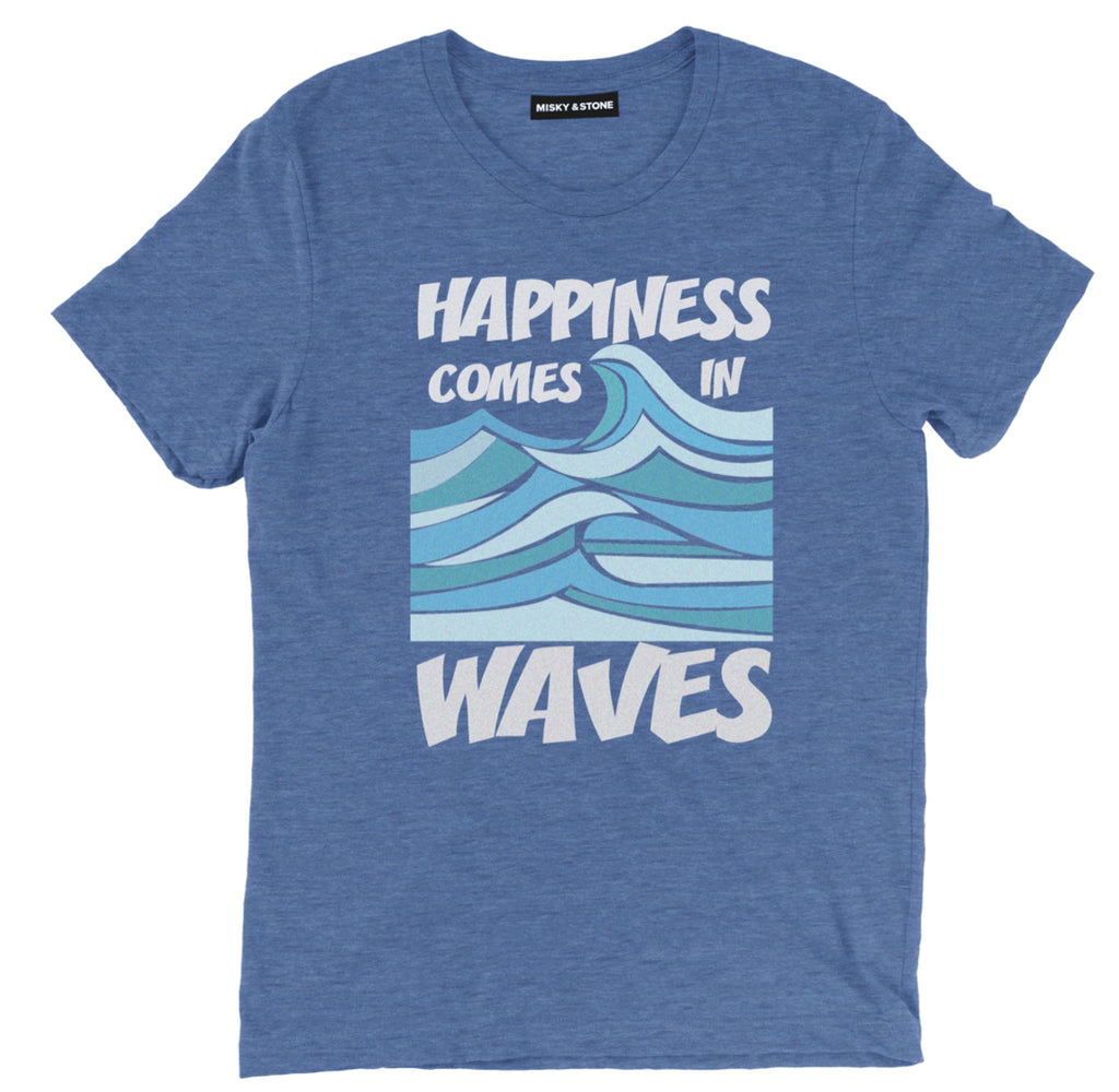 happiness comes in waves tee shirt, beach tee shirt, beach clothing, beach apparel, funny beach tees, cool beach t shirts, ocean tee shirts