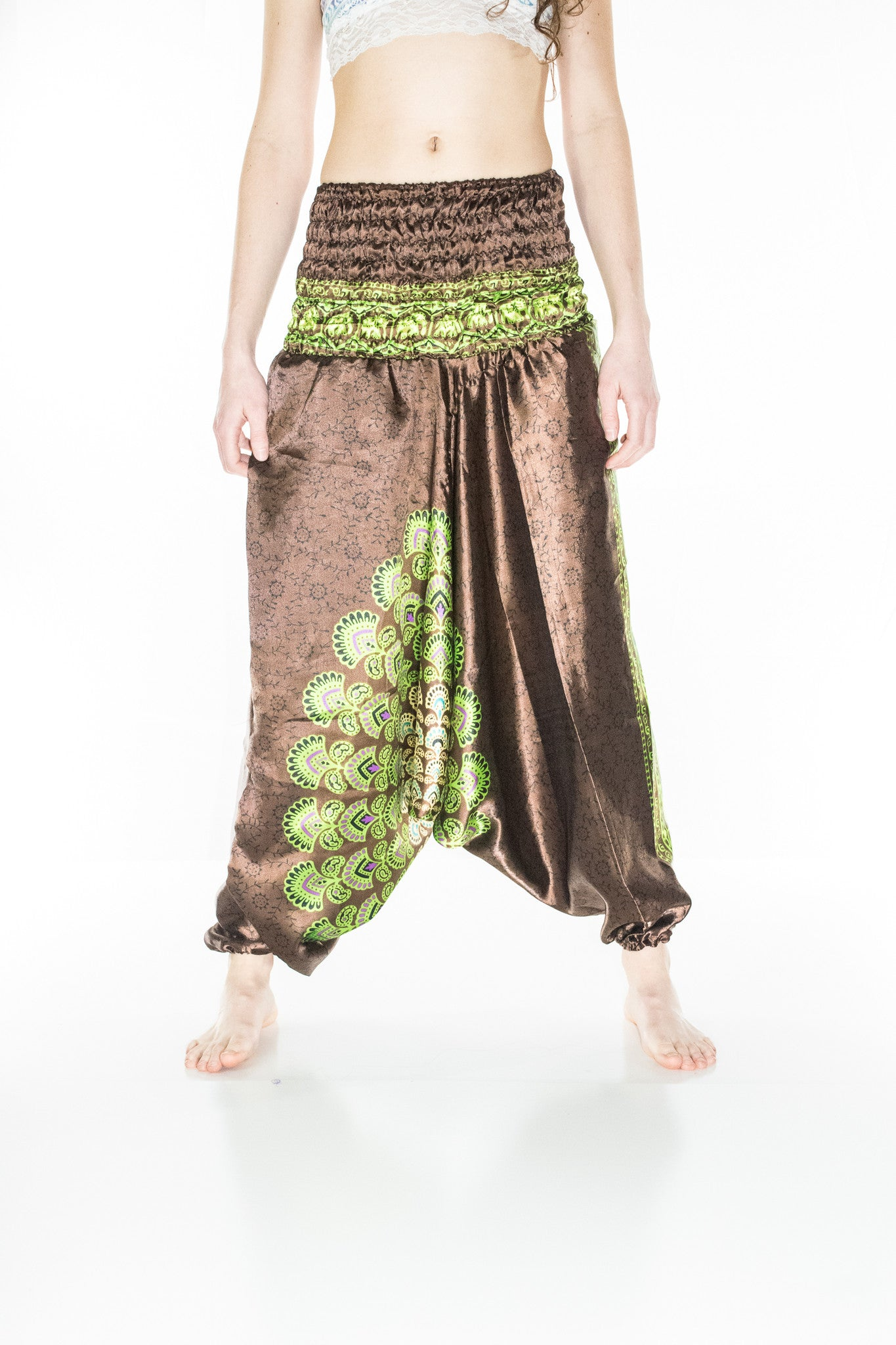 Brown Mandala Aladdin Harem Pants