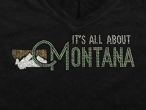 It's All About Montana Rhinestone and Glitter Ladies T