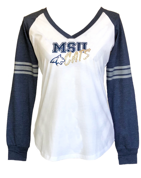 MSU Cats Ladies Long Sleeve V-Neck T