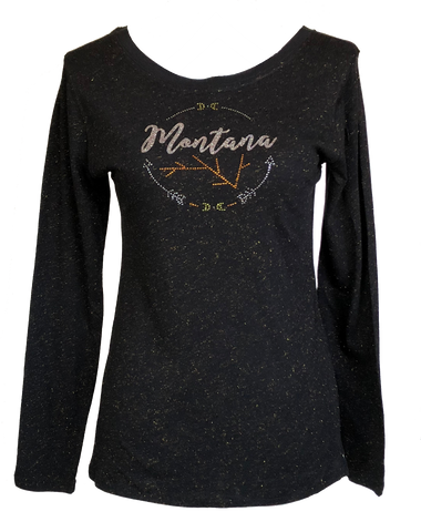 Ladies Black and Gold Sparkle Shirt
