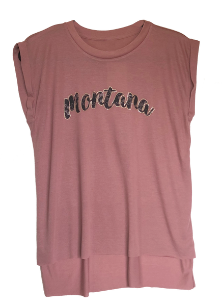 Mauve Montana Flowy Muscle Tee with Rolled Cuff