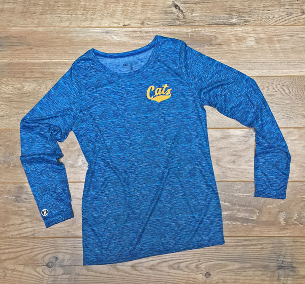 MSU Cats Ladies Long Sleeve Space Dye Shirt