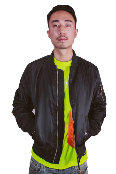 CLOUT 9 Reversible Bomber Jacket in Jet Black