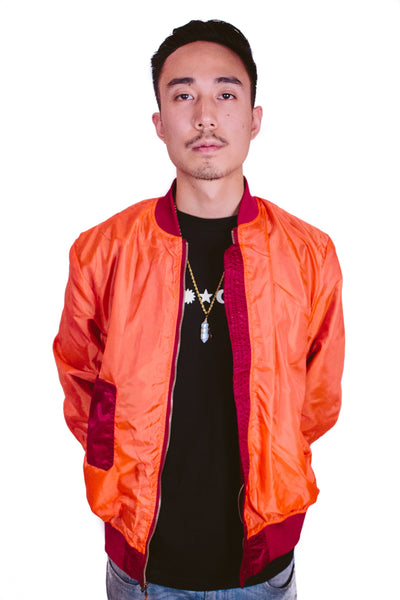 CLOUT 9 Reversible Bomber Jacket in Deep Red