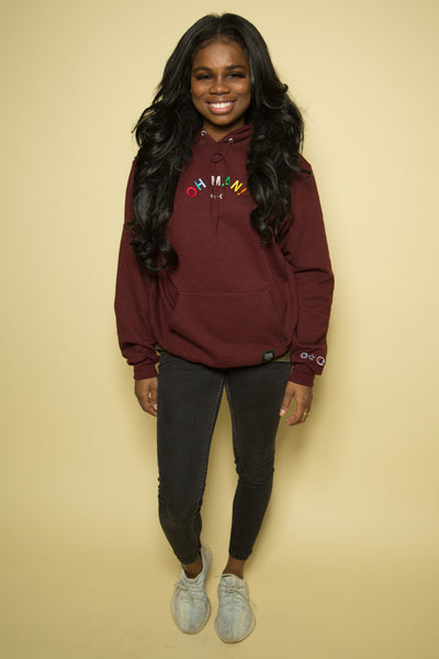 The Champion Alphabet Hoodie in Burgundy
