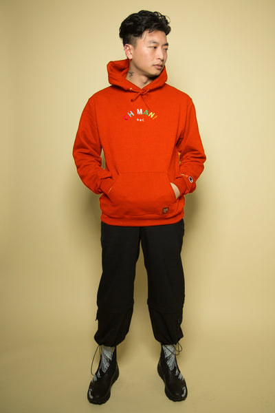 The Champion Alphabet Hoodie in Orange