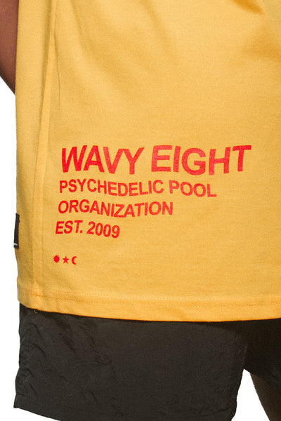 Wavy Eight Anniversary Tee in Athletic Gold