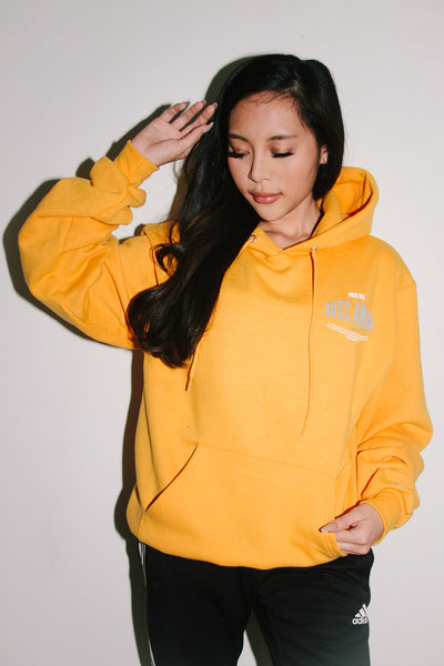 Avec Amour Champion Hoodie in Athletic Gold