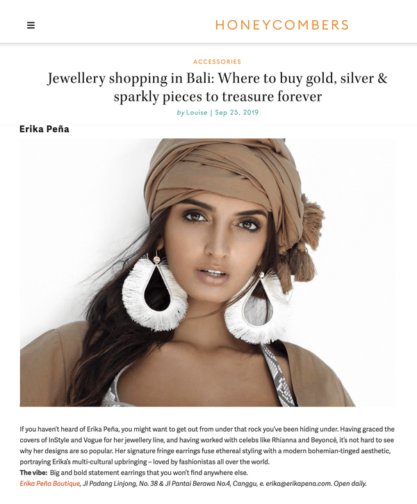 Erika Peña Featured as One of the Top Boutique in Bali in HoneyCombers - Erika Peña