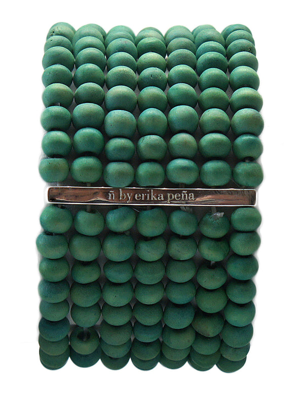 Mona Island Layered Wood Bead Cuff - Erika Peña