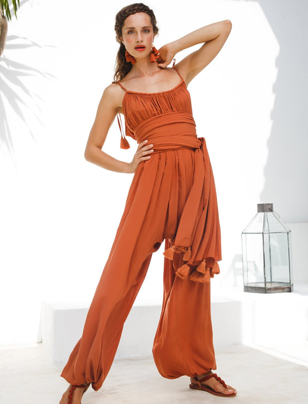 VERUSCHKA ISLA JUMPSUIT + ISLA TASSEL BELT + FREE ANA EARRINGS - Erika Peña